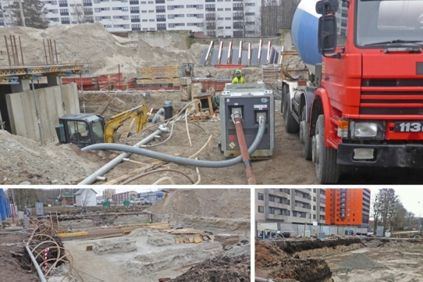 DEWATERING GROUND FOR CONCRETE WORKS